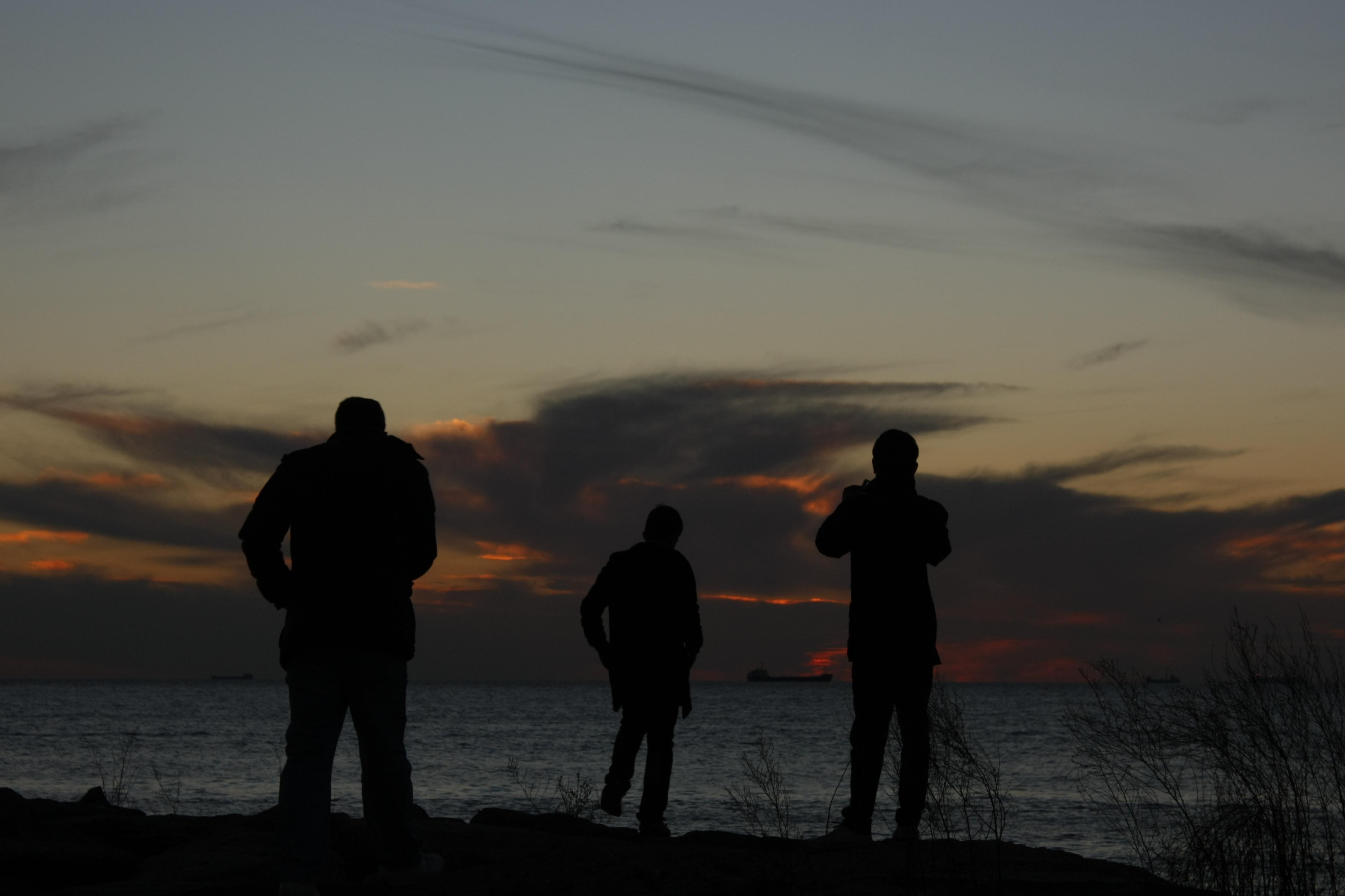 silüetler, fotoğraf,deniz, adam